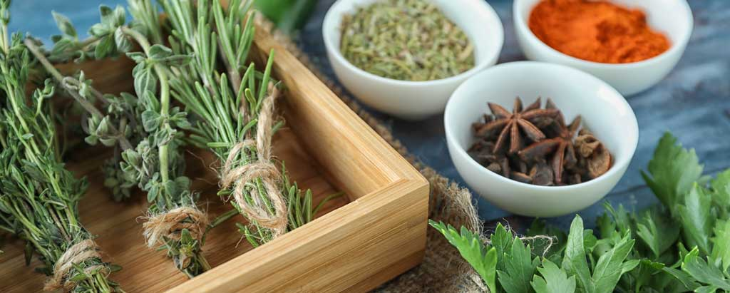 Foods, Spices and Herbs with Antifungal, Antibacterial and Antiviral properties